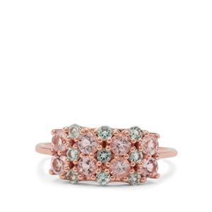 Cherry Blossom Morganite & Aquaiba™ Beryl 9K Gold Ring ATGW 1.05cts