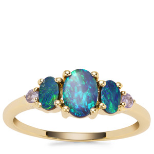 Crystal Opal on Ironstone Ring with Tanzanite in 9K Gold
