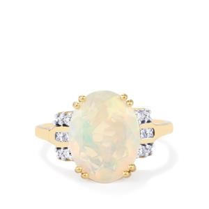Ethiopian Opal Ring with Diamond in 18k Gold 3.10cts