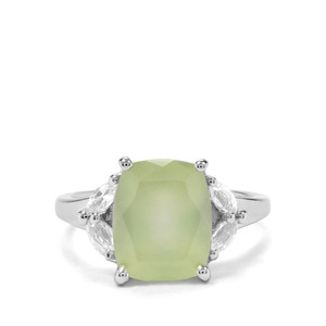 Prehnite & White Topaz Sterling Silver Ring ATGW 4.96cts