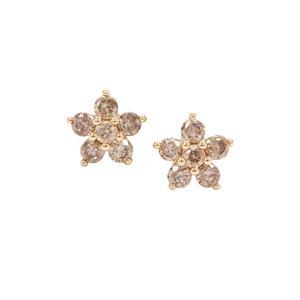 Cape Champagne Diamond Earrings in 9K Gold 0.51ct