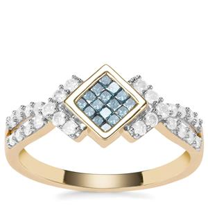 Blue Diamond Ring with White Diamond in 9K Gold 0.51ct