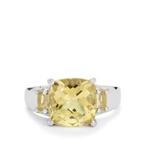 Amarelo Beryl Ring with Serenite in Sterling Silver 4.03cts
