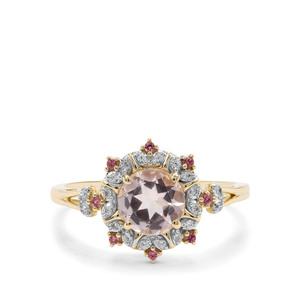 Alto Ligonha Morganite, Pink Tourmaline & White Zircon 9K Gold Ring ATGW 1.05cts