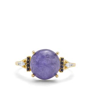 Tanzanite, Blue Sapphire & White Zircon 9K Gold Ring ATGW 5.65cts