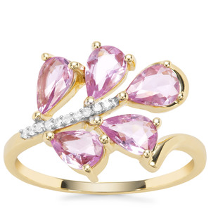 Rose Cut Purple Sapphire Ring with Diamond in 9K Gold 1.63cts