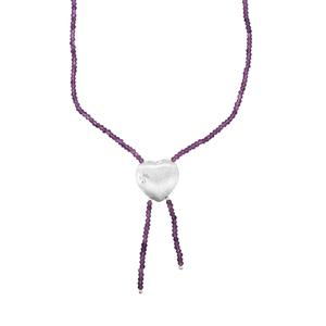 Bahia Amethyst Bead Necklace in Sterling Silver 25cts