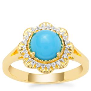 Sleeping Beauty Turquoise Ring with White Zircon in Gold Plated Sterling Silver 1.30cts