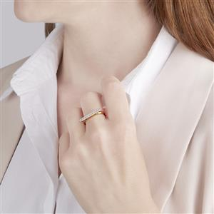 Diamond Bridge Mini Stacking Ring in Gold Vermeil 1/4ct