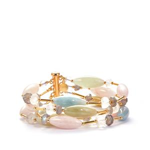 Morganite, Aquamarine, Moonstone, White Quartz and Labradorite 14k Gold Tone Sterling Silver Sarah Bennett Bracelet ATGW 161.56ct