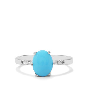 Sleeping Beauty Turquoise & White Zircon Sterling Silver Ring ATGW 1.59cts
