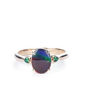AA Ammolite Ring with Tsavorite Garnet in 9K Gold (9 x 7mm)