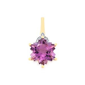 Bahia Amethyst Pendant with Diamond in 9K Gold 4.06cts