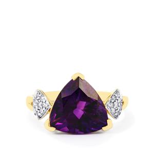 Moroccan Amethyst Ring with Diamond in 14k Gold 3.90cts