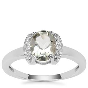 Prasiolite Ring with White Topaz in Sterling Silver 1.33cts
