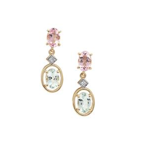 Cherry Blossom™ Morganite, Aquaiba™ Beryl Earrings with Diamond in 9K Gold 1.60cts