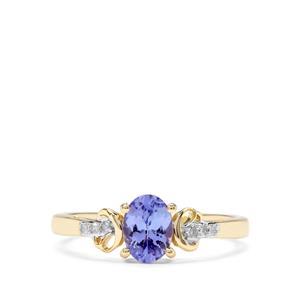 AA Tanzanite & Diamond 10K Gold Ring ATGW 0.75cts