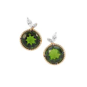 Chrome Diopside Earrings with Natural Zircon in 9K Gold 1.42cts