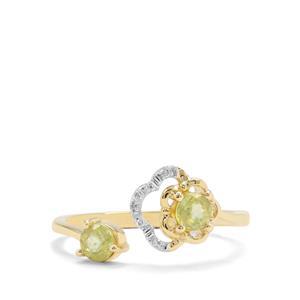 Ambilobe Sphene & Diamond 9K Gold Ring ATGW 0.58ct