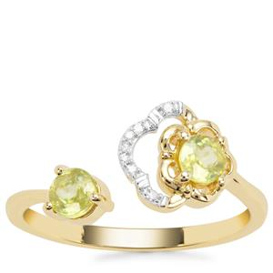 Ambilobe Sphene Ring with Diamond in 9K Gold 0.58cts