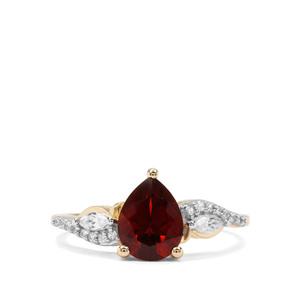 Madeira Citrine & White Zircon 9K Gold Ring ATGW 1.64cts