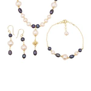 Kaori Cultured Pearl Set of Earrings, Bracelet and Necklace in Gold Plated Sterling Silver