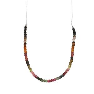 Rainbow Tourmaline Slider Bead Necklace in Sterling Silver 30.50cts