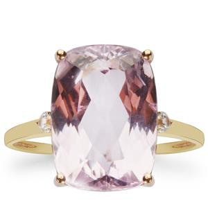 Kunzite Ring with White Zircon in 9K Gold 8cts