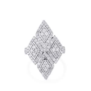 1.65ct Diamond Sterling Silver Ring