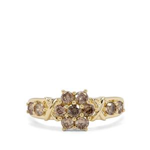 Cape Champagne Diamond Ring in 9K Gold 1.02cts