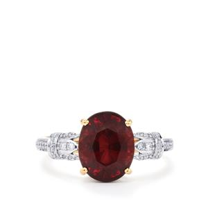 Malawi Garnet Ring with Diamond in 18K Gold 3.88cts