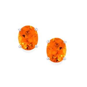 Padparadscha Color Quartz Earrings  in Sterling Silver 4.96cts