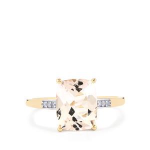 Alto Ligonha Morganite & Diamond 10K Gold Ring ATGW 2.70cts