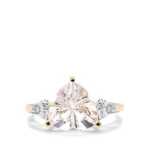 Lehrer Infinity Cut Optic Quartz & Diamond 9K Gold Ring ATGW 3.34cts