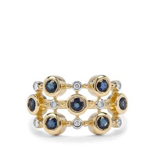 Natural Nigerian Blue Sapphire & Diamond 9K Gold Ring ATGW 0.98cts