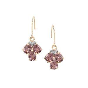 Mahenge Pink Spinel & Diamond 9K Gold Earrings ATGW 2.16cts