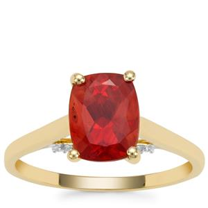 Tarocco Red Andesine Ring with White Zircon in 9K Gold 1.75cts