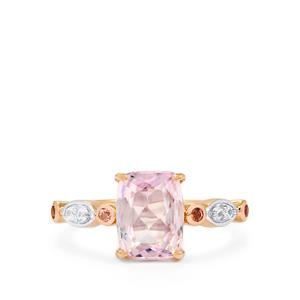 Mawi Kunzite, Pink Tourmaline Ring with Zircon in 10k Rose Gold 2.47cts