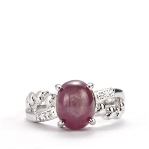 Madagascan Star Ruby & White Topaz Sterling Silver Ring ATGW 4.13cts (F)
