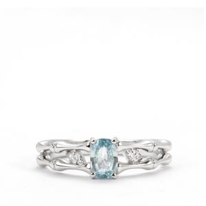 Ratanakiri Blue Zircon Ring with White Topaz in Sterling Silver 0.80ct