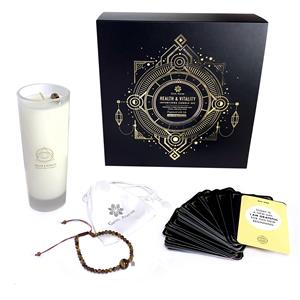 Intentions Candle Set - Health & Vitality With Tigers Eye Bracelet & Palm Stone ATGW 58.25cts