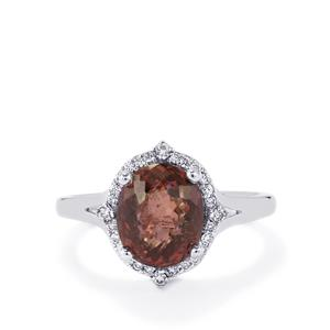 Color Change Garnet Ring with Diamond in 18k White Gold 4.42cts