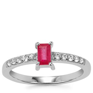 Thai Ruby Ring with White Topaz in Sterling Silver 0.60cts (F)