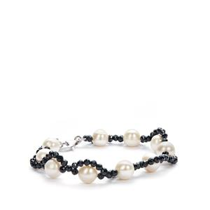 Kaori Cultured Pearl & Black Spinel Sterling Silver Bracelet