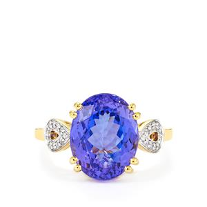 AA Tanzanite Ring with Diamond in 14k Gold 7.74cts