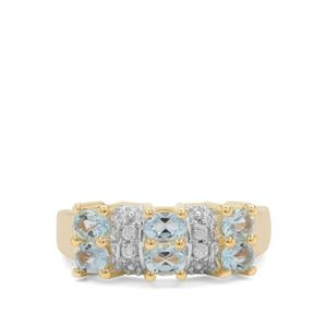 Aquaiba™ Beryl Ring with White Zircon in Gold Plated Sterling Silver 0.98ct