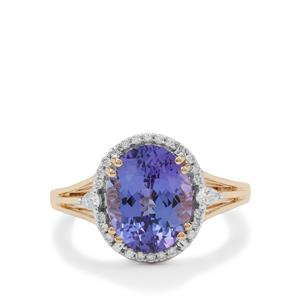 AAA Tanzanite Ring with Diamond in 18K Gold 4.10cts