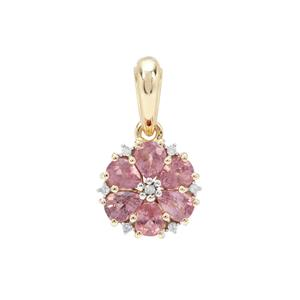 Padparadscha Sapphire Pendant with Diamond in 9K Gold 1.30cts