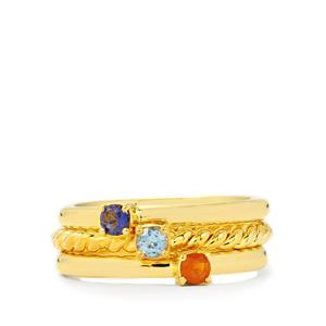 Bengal Iolite Stacker Rings with Bi Colour Tanzanite and Orange American Fire Opal in Gold Plated Sterling Silver 0.29ct