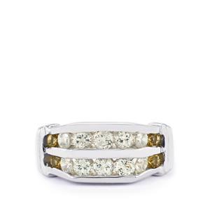 White Topaz, Champagne Quartz & White Zircon Sterling Silver Ring ATGW 1.37cts